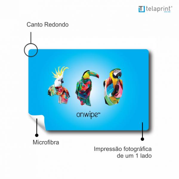 Especificações pano de microfibra promocional.